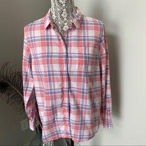 L.L. Bean Button Down Shirt Pink Blue Plaid Sz M